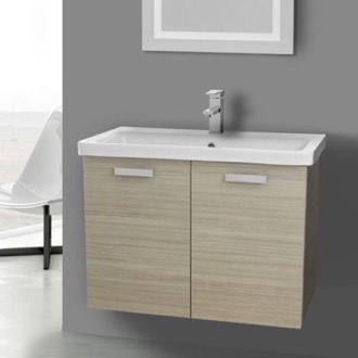 Bathroom Vanity 32 Inch Larch Canapa Wall Mount Vanity with Fitted Ceramic Sink ACF CP103