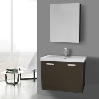 Bathroom Vanity 32 Inch Wenge Wall Mount Vanity with Fitted Ceramic Sink, Medicine Cabinet Included ACF CP340