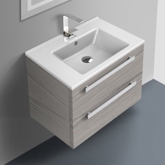 Bathroom Vanity 24 Inch Vanity Cabinet With Fitted Sink ACF DA04-Grey Walnut