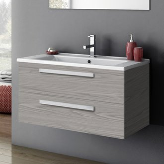 Bathroom Vanity 33 Inch Vanity Cabinet With Fitted Sink ACF DA05-Grey Walnut