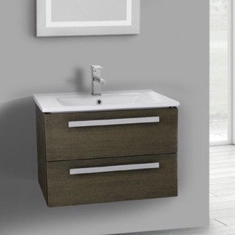 Bathroom Vanity 25 Inch Grey Oak Wall Mount Bathroom Vanity Set, 2 Drawers ACF DA26