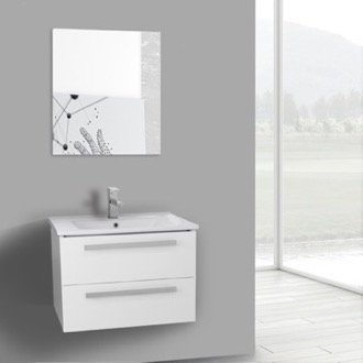 Bathroom Vanity 25 Inch Glossy White Wall Mount Bathroom Vanity Set, 2 Drawers, Mirror Included ACF DA65