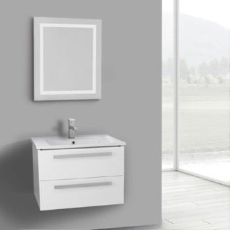 Bathroom Vanity 25 Inch Glossy White Wall Mount Bathroom Vanity Set, 2 Drawers, Lighted Mirror Included ACF DA68