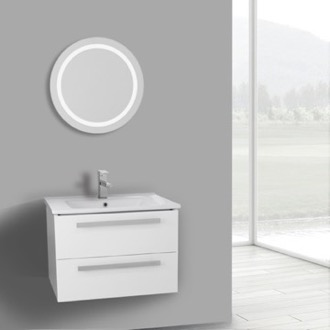 Bathroom Vanity 25 Inch Glossy White Wall Mount Bathroom Vanity Set, 2 Drawers, Lighted Mirror Included ACF DA66