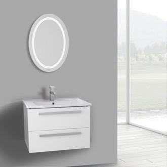 Bathroom Vanity 25 Inch Glossy White Wall Mount Bathroom Vanity Set, 2 Drawers, Lighted Mirror Included ACF DA67