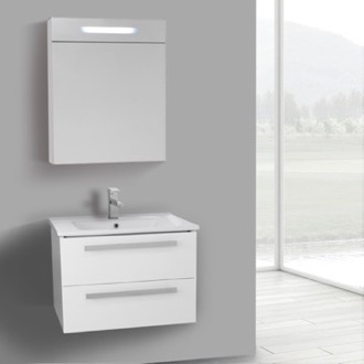 Bathroom Vanity 25 Inch Glossy White Wall Mount Bathroom Vanity Set, 2 Drawers, Lighted Medicine Cabinet Included ACF DA273