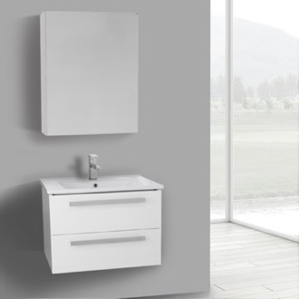 Bathroom Vanity 25 Inch Glossy White Wall Mount Bathroom Vanity Set, 2 Drawers, Medicine Cabinet Included ACF DA274