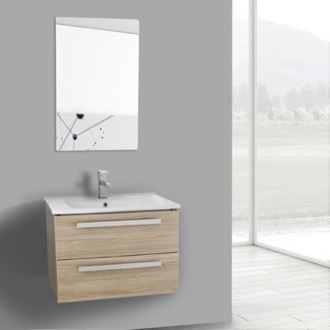 Bathroom Vanity 25 Inch Style Oak Wall Mount Bathroom Vanity Set, 2 Drawers, Mirror Included ACF DA73