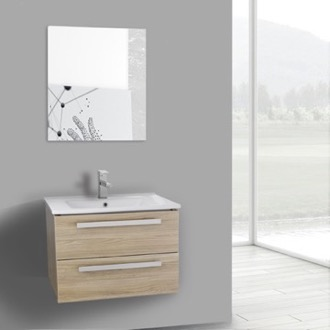 Bathroom Vanity 25 Inch Style Oak Wall Mount Bathroom Vanity Set, 2 Drawers, Mirror Included ACF DA74