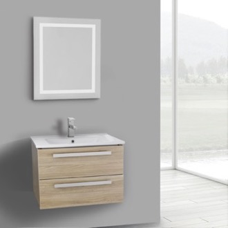 Bathroom Vanity 25 Inch Style Oak Wall Mount Bathroom Vanity Set, 2 Drawers, Lighted Mirror Included ACF DA77