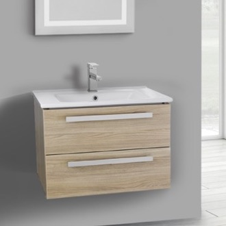 Bathroom Vanity 25 Inch Style Oak Wall Mount Bathroom Vanity Set, 2 Drawers ACF DA24