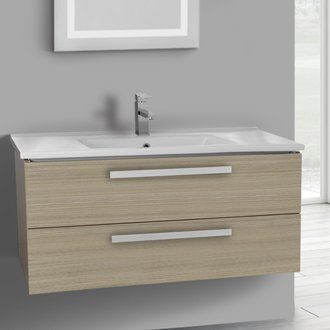 Bathroom Vanity 38 Inch Larch Canapa Wall Mount Bathroom Vanity Set, 2 Drawers ACF DA316