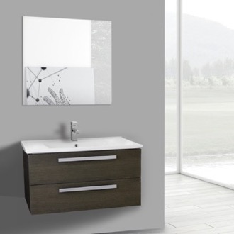 Bathroom Vanity 33 Inch Grey Oak Wall Mount Bathroom Vanity Set, 2 Drawers, Mirror Included ACF DA83