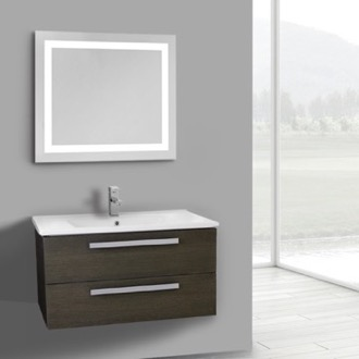 Bathroom Vanity 33 Inch Grey Oak Wall Mount Bathroom Vanity Set, 2 Drawers, Lighted Mirror Included ACF DA85
