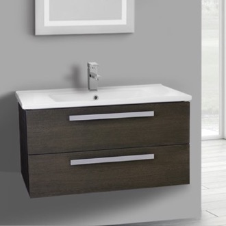 Bathroom Vanity 33 Inch Grey Oak Wall Mount Bathroom Vanity Set, 2 Drawers ACF DA29