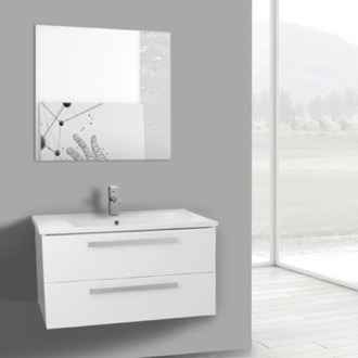 Bathroom Vanity 33 Inch Glossy White Wall Mount Bathroom Vanity Set, 2 Drawers, Mirror Included ACF DA91