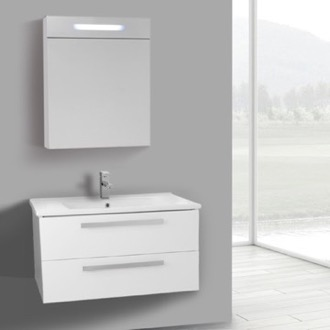 Bathroom Vanity 33 Inch Glossy White Wall Mount Bathroom Vanity Set, 2 Drawers, Lighted Medicine Cabinet Included ACF DA288