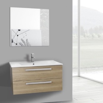Bathroom Vanity 33 Inch Style Oak Wall Mount Bathroom Vanity Set, 2 Drawers, Mirror Included ACF DA99