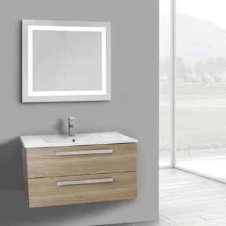 Bathroom Vanity 33 Inch Style Oak Wall Mount Bathroom Vanity Set, 2 Drawers, Lighted Mirror Included ACF DA101