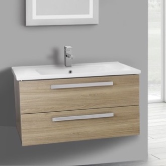 Bathroom Vanity 33 Inch Style Oak Wall Mount Bathroom Vanity Set, 2 Drawers ACF DA27