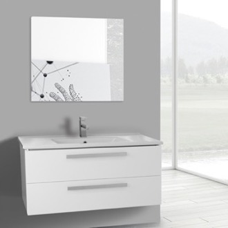 Bathroom Vanity 38 Inch Glossy White Wall Mount Bathroom Vanity Set, 2 Drawers, Mirror Included ACF DA113