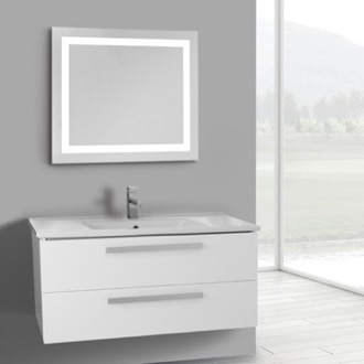 Bathroom Vanity 38 Inch Glossy White Wall Mount Bathroom Vanity Set, 2 Drawers, Lighted Mirror Included ACF DA114