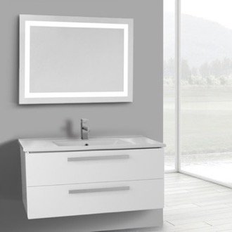 Bathroom Vanity 38 Inch Glossy White Wall Mount Bathroom Vanity Set, 2 Drawers, Lighted Mirror Included ACF DA115