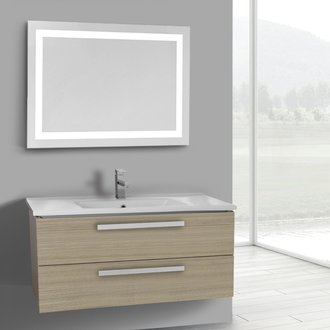 Bathroom Vanity 38 Inch Larch Canapa Wall Mount Bathroom Vanity Set, 2 Drawers, Lighted Mirror Included ACF DA317