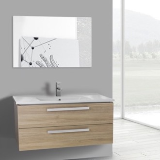 Bathroom Vanity 38 Inch Style Oak Wall Mount Bathroom Vanity Set, 2 Drawers, Mirror Included ACF DA119