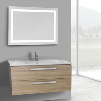 Bathroom Vanity 38 Inch Style Oak Wall Mount Bathroom Vanity Set, 2 Drawers, Lighted Mirror Included ACF DA122