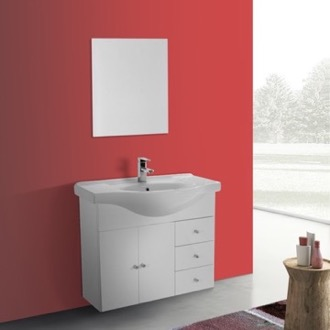 Bathroom Vanity 32 Inch Glossy White Wall Mounted Bathroom Vanity Set, Curved Sink, Mirror Included ACF LON21