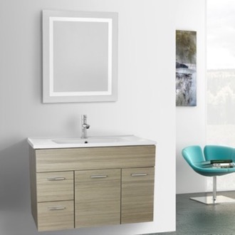 Bathroom Vanity 33 Inch Larch Canapa Bathroom Vanity Set, Wall Mounted, Lighted Mirror Included ACF LOR29