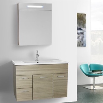 Bathroom Vanity 33 Inch Larch Canapa Bathroom Vanity Set, Wall Mounted, Lighted Medicine Cabinet Included ACF LOR48