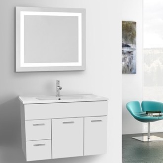 Bathroom Vanity 33 Inch Glossy White Bathroom Vanity Set, Wall Mounted, Lighted Mirror Included ACF LOR61