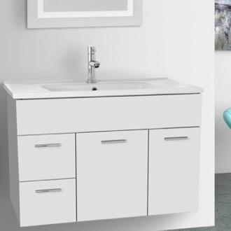 Bathroom Vanity 33 Inch Glossy White Bathroom Vanity Set ACF LOR57
