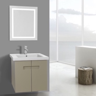 Bathroom Vanity 21 Inch PVC Matt Canapa Bathroom Vanity Set with Inset Handles, Lighted Mirror Included ACF NY89