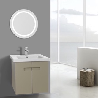 Bathroom Vanity 21 Inch PVC Matt Canapa Bathroom Vanity Set with Inset Handles, Lighted Mirror Included ACF NY90