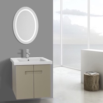 Bathroom Vanity 21 Inch PVC Matt Canapa Bathroom Vanity Set with Inset Handles, Lighted Mirror Included ACF NY91