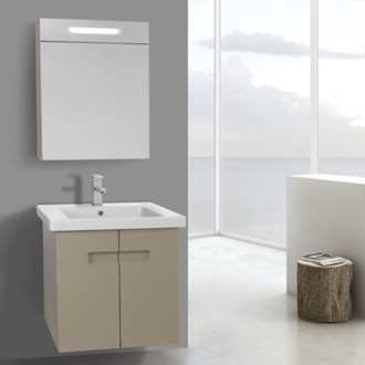 Bathroom Vanity 21 Inch Matt Canapa Bathroom Vanity Set with Inset Handles, Lighted Medicine Cabinet Included ACF NY168