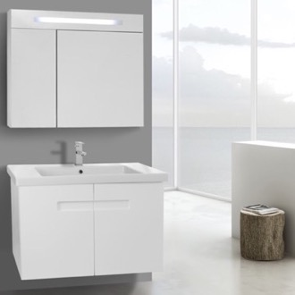 Bathroom Vanity 32 Inch Glossy White Bathroom Vanity Set with Inset Handles, Lighted Medicine Cabinet Included ACF NY175