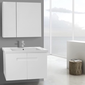 Bathroom Vanity 32 Inch Glossy White Bathroom Vanity Set with Inset Handles, Medicine Cabinet Included ACF NY176