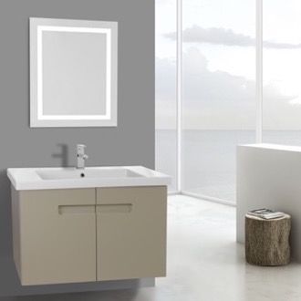 Bathroom Vanity 32 Inch PVC Matt Canapa Bathroom Vanity Set with Inset Handles, Lighted Mirror Included ACF NY102