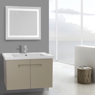 Bathroom Vanity 32 Inch PVC Matt Canapa Bathroom Vanity Set with Inset Handles, Lighted Mirror Included ACF NY103
