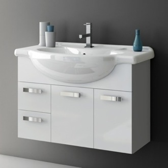 Bathroom Vanity 32 Inch Wall Mount Glossy White Bathroom Vanity Set ACF PH48