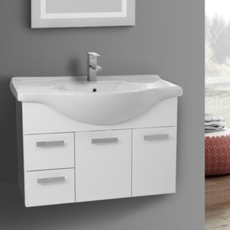 Bathroom Vanity 32 Inch Wall Mount Glossy White Bathroom Vanity Set ACF PH60