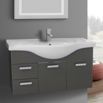 Bathroom Vanity 39 Inch Wall Mount Glossy Anthracite Bathroom Vanity Set ACF PH53