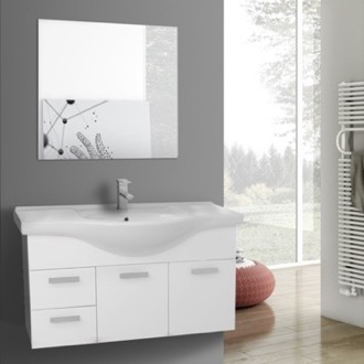Bathroom Vanity 39 Inch Wall Mount Glossy White Bathroom Vanity Set ACF PH145