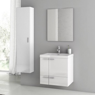 Bathroom Vanity 23 Inch Glossy White Bathroom Vanity Set ACF ANS54