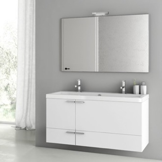 Bathroom Vanity 47 Inch Glossy White Bathroom Vanity Set ACF ANS138