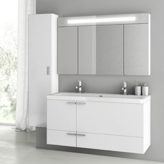 Bathroom Vanity 47 Inch Glossy White Bathroom Vanity Set ACF ANS217